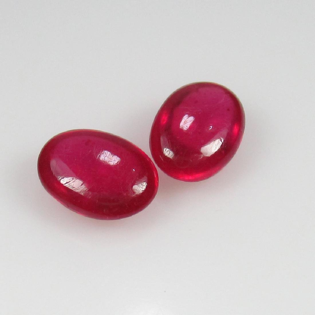 2.42 Ct Genuine Pinkish Red Ruby Matching Oval Cabochon - 2