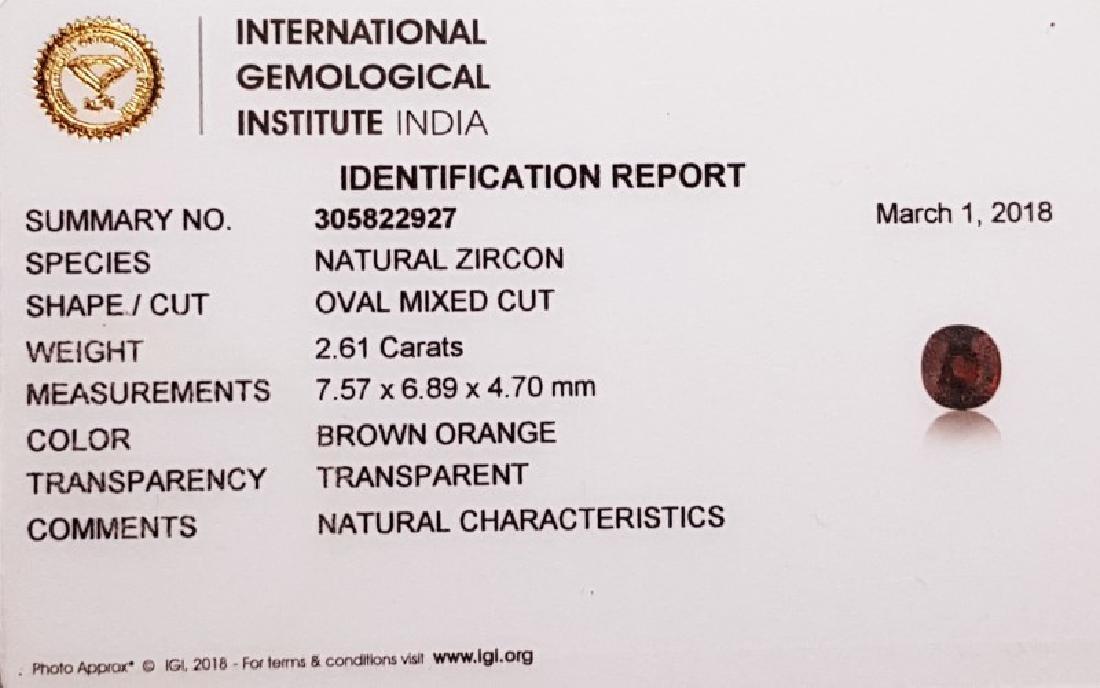 IGI CERTIFIED Natural Brownish Orange Zircon - 2.61 ct - 5