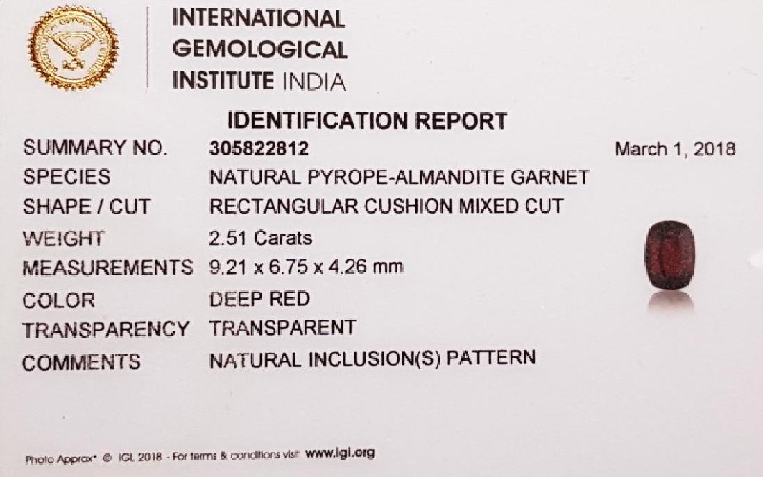 IGI CERTIFIED Natural Pyrope - Almandite Red Garnet - - 3