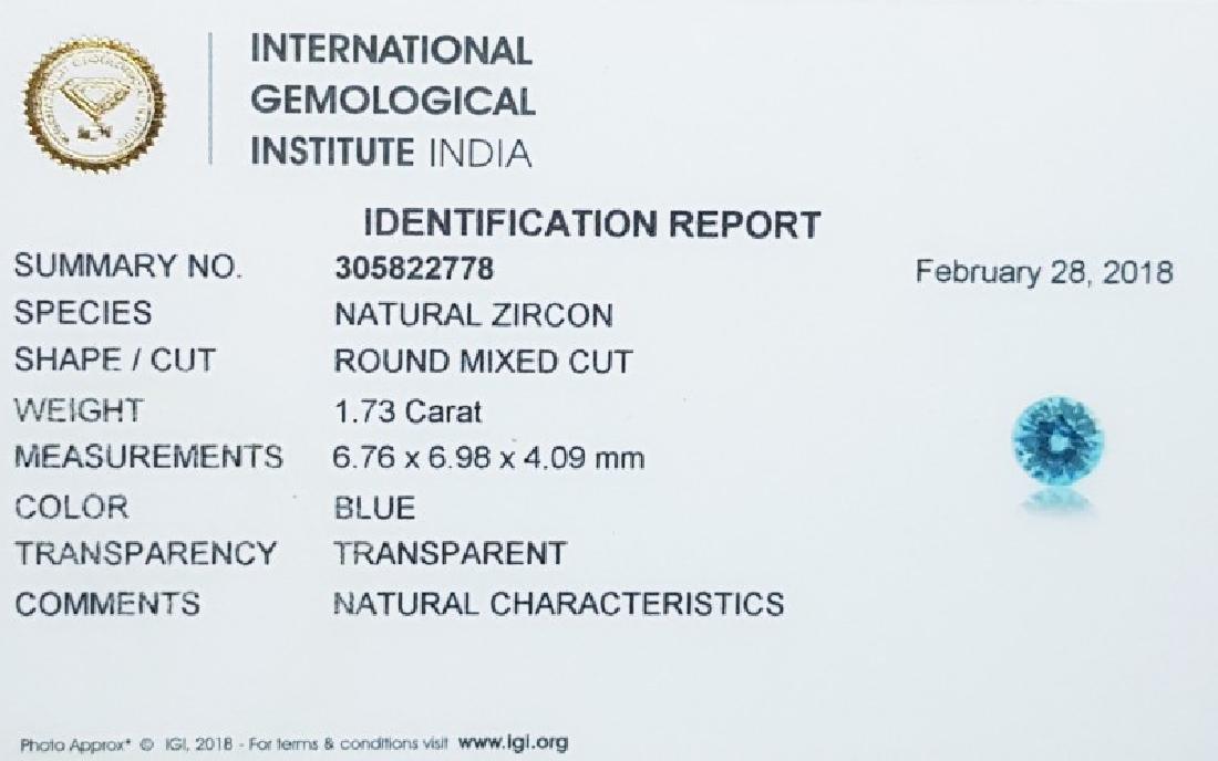 IGI CERTIFIED Natural Blue Zircon - 1.73 ct - 5