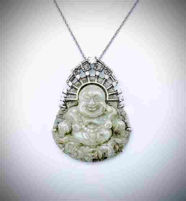 Sterling Silver Necklace & Buddha Engraved Jade Pendant
