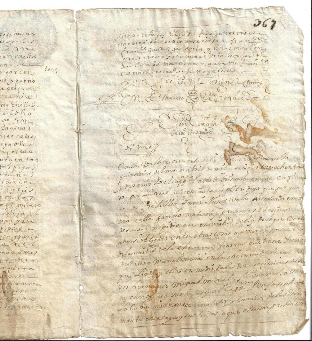 1683 Colonial Peru Manuscript Signatures - 2