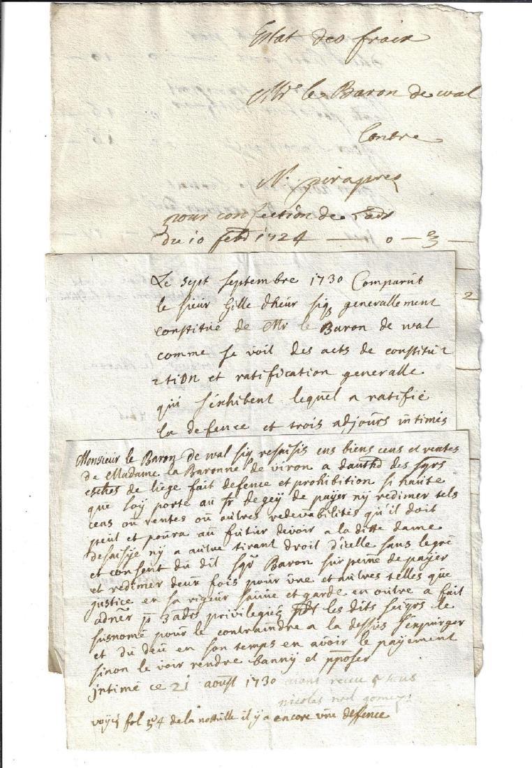 1730 Lot of Manuscipts Baron de Wal Liege