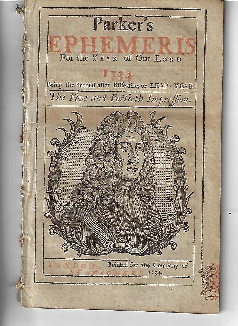 1734 English Almanac Parker's Ephemeris