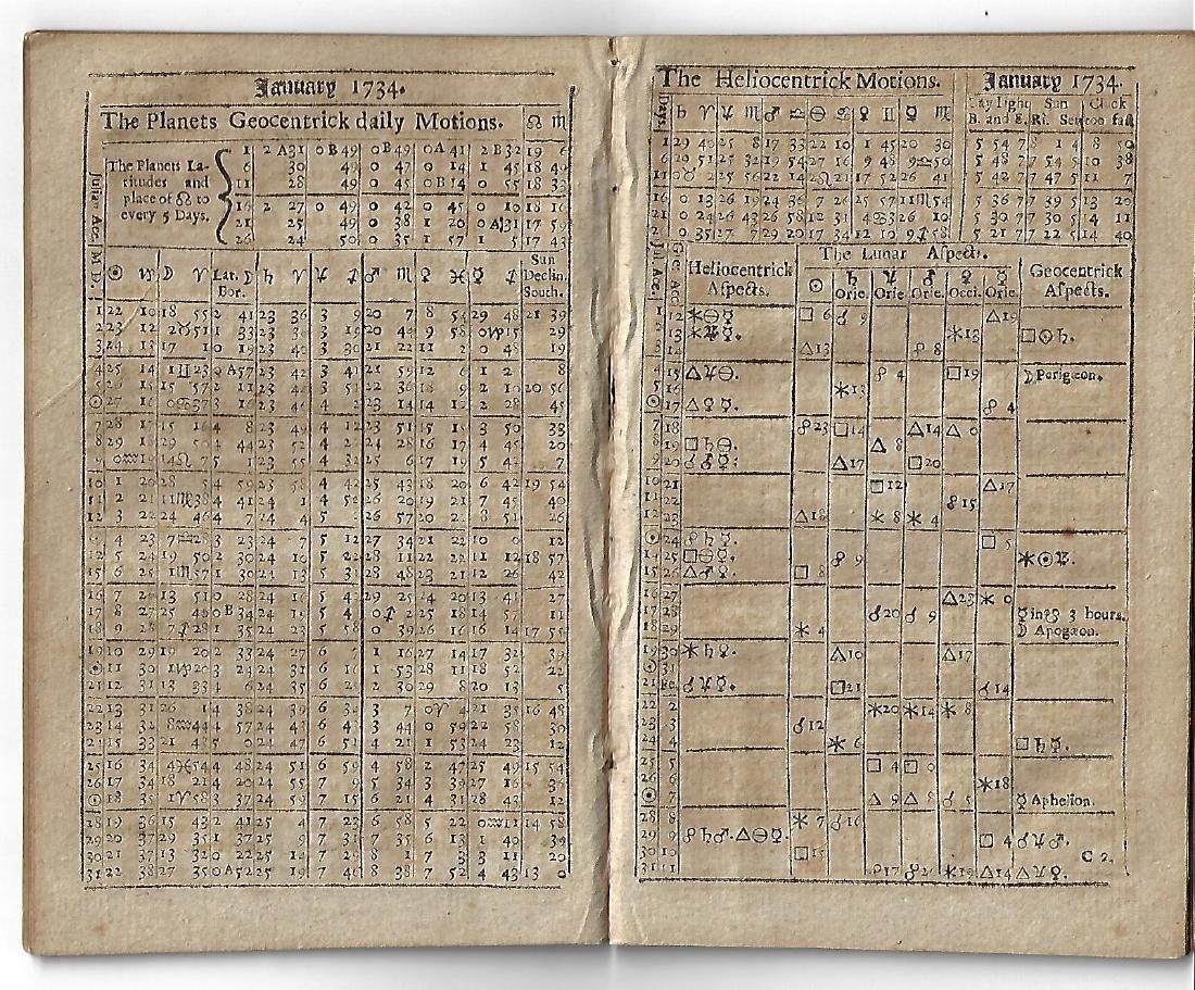 1734 English Almanac Parker's Ephemeris - 2