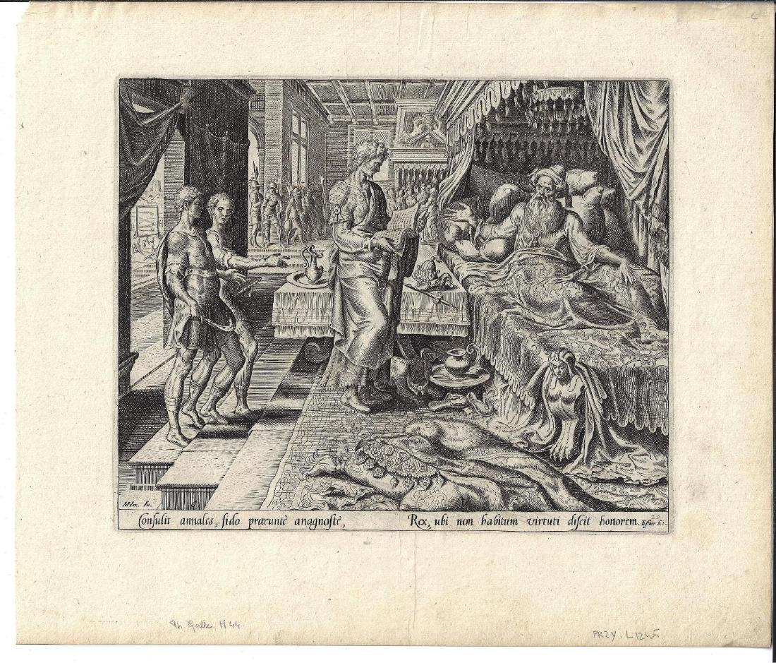 16th C Engraving Philip Galle from Book of Esther