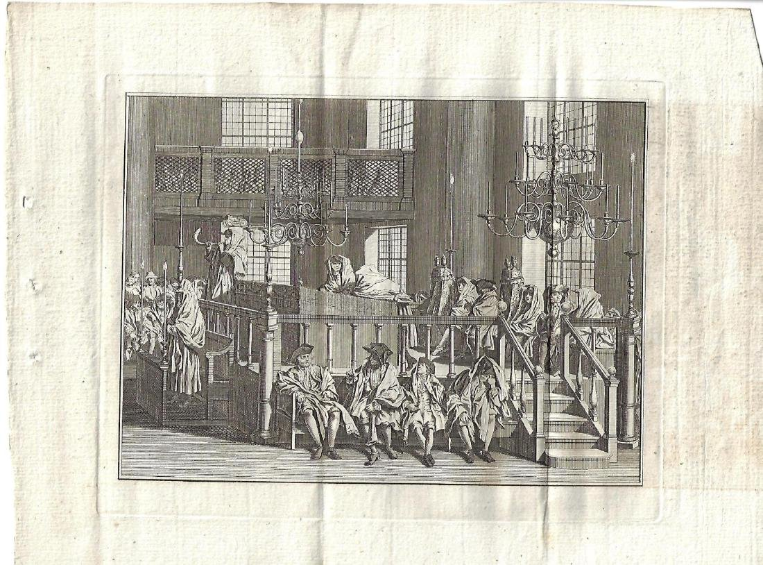 1778 Fine Engraving Jewish New Year Amsterdam Synagogue