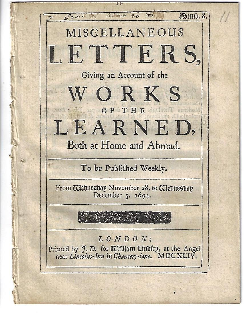 1694 English Printing Miscellaneous Letters