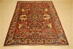 Animal Subjects Persian Bijar Rug 4.4x6.7 High Kpsi