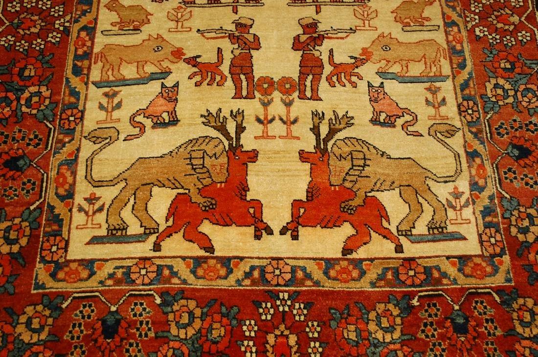 Persian Bijar Rug 4.6x7.3 Animal human Subjects - 10