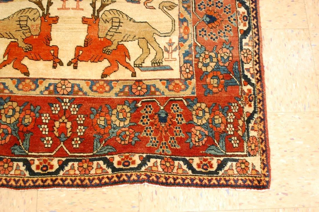 Persian Bijar Rug 4.6x7.3 Animal human Subjects - 2