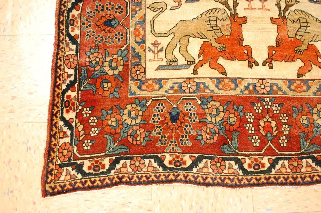Persian Bijar Rug 4.6x7.3 Animal human Subjects - 3