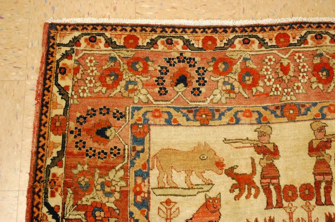 Persian Bijar Rug 4.6x7.3 Animal human Subjects - 4