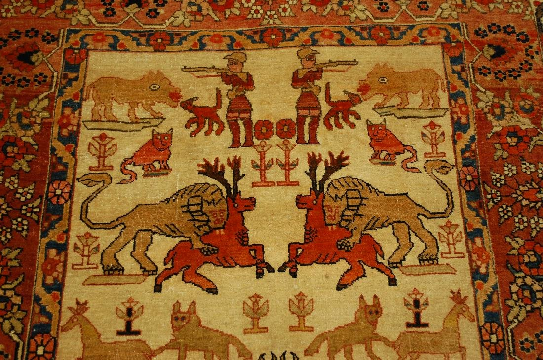 Persian Bijar Rug 4.6x7.3 Animal human Subjects - 5