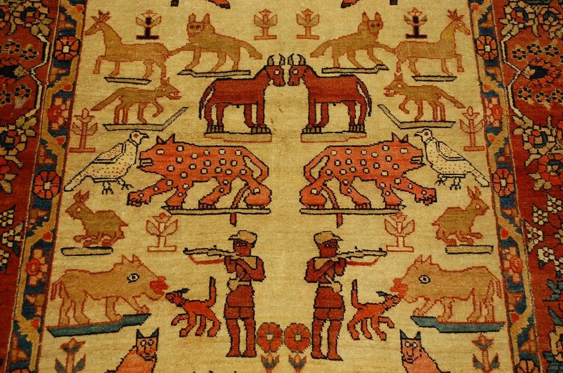 Persian Bijar Rug 4.6x7.3 Animal human Subjects - 6