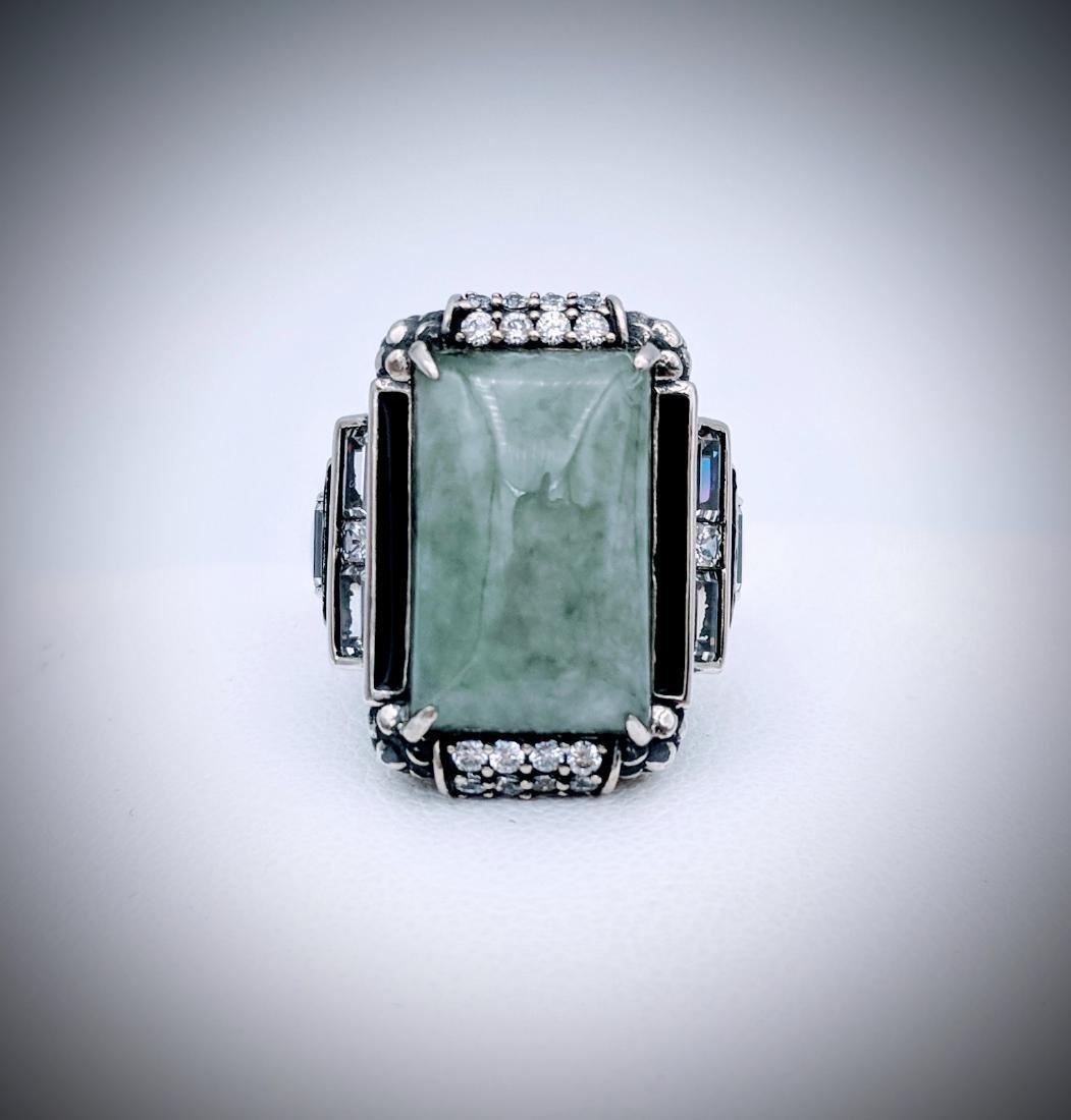 Sterling Silver Sz 7 Jade Ring w CZ & Black Enamaling