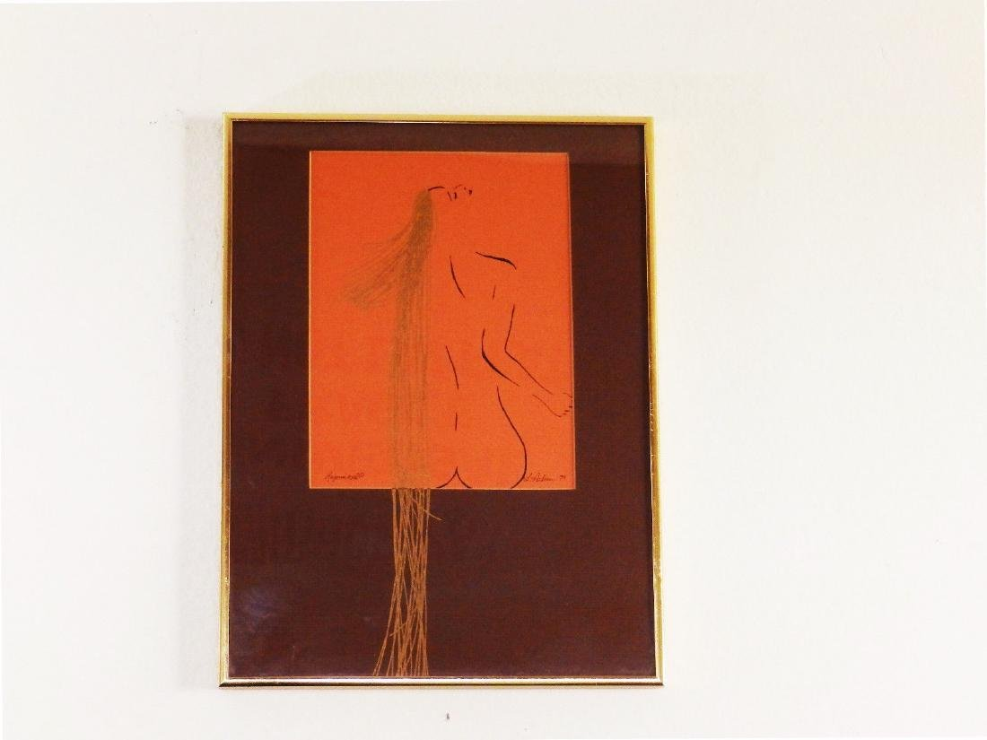 Circa 1979 'NUDE FEMALE with GOLDEN HAIR' L. Achew
