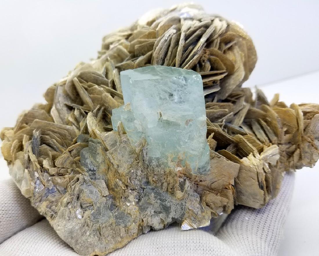 Natural Aquamarine Specimen With Mica - 3
