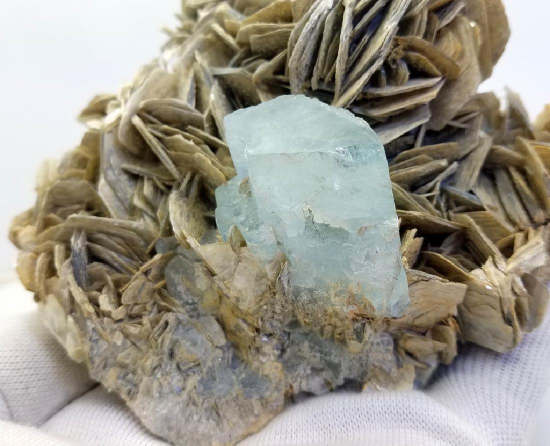 Natural Aquamarine Specimen With Mica - 5