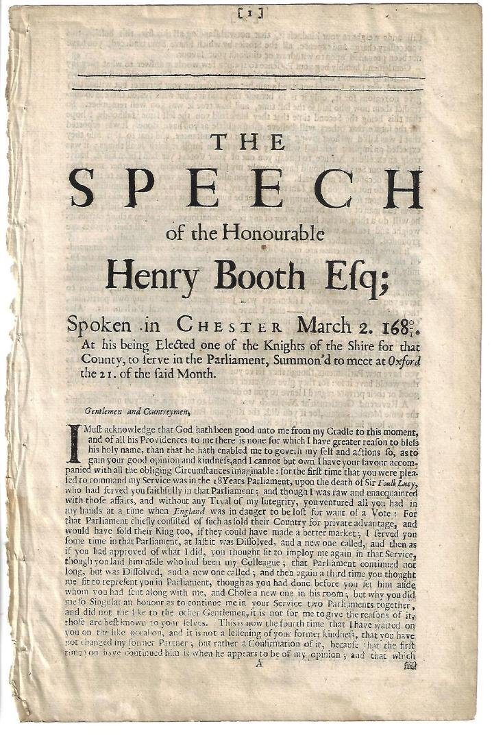 1681 English Speech of Henry Booth Esq