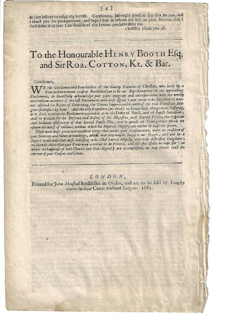 1681 English Speech of Henry Booth Esq - 2
