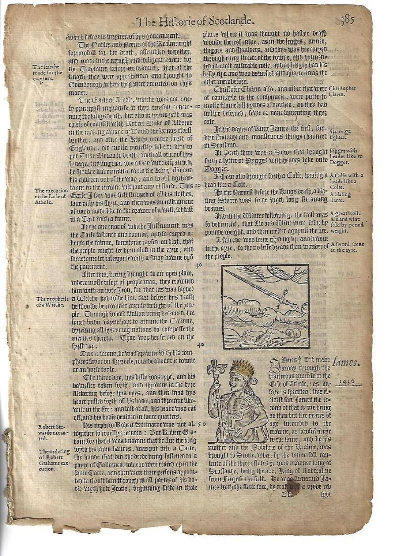 1577 Leaf Holinshed Historie of Scotlande