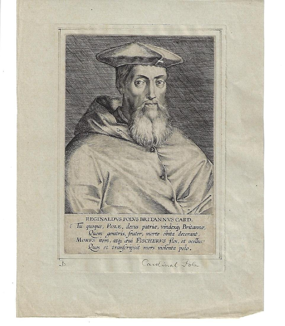 17th C Engraving of Cardinal Pole