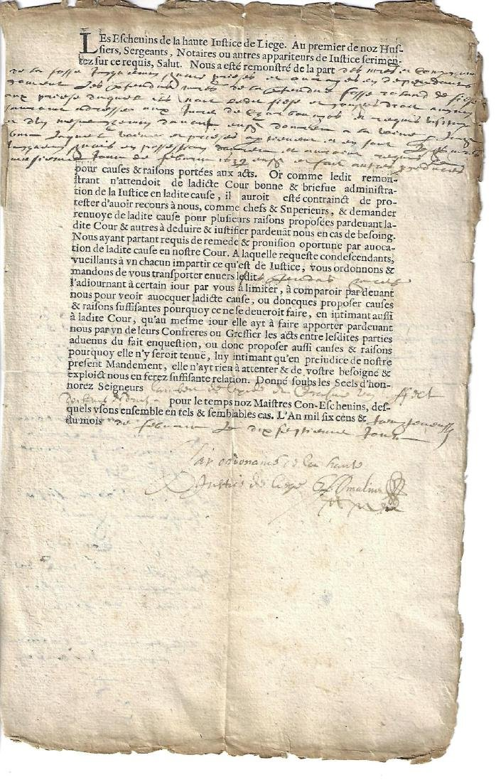 1639 Partially Printed French Document
