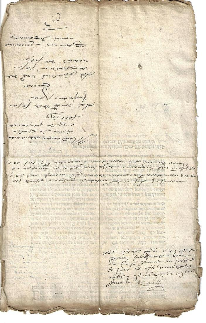 1639 Partially Printed French Document - 2