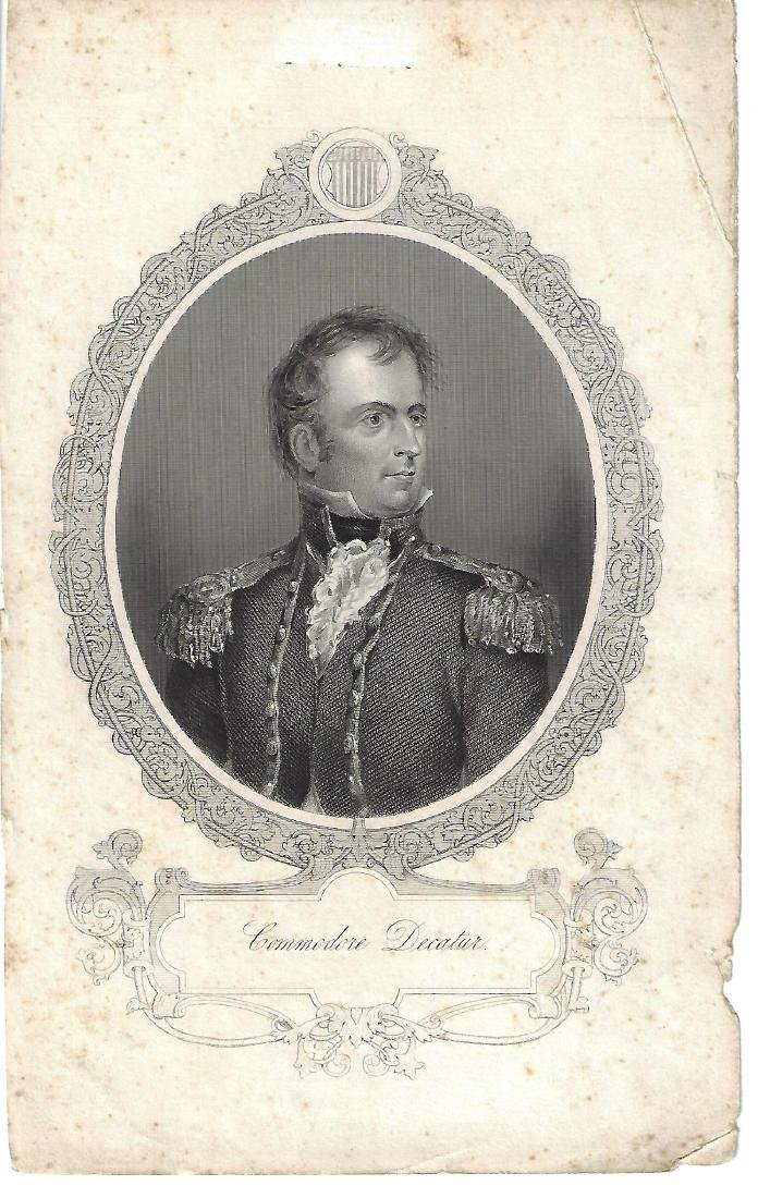 19th C Engraving of Commodore Stephen Decatur