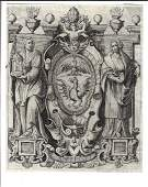 Ornate 17th C Engraved Coat of Arms