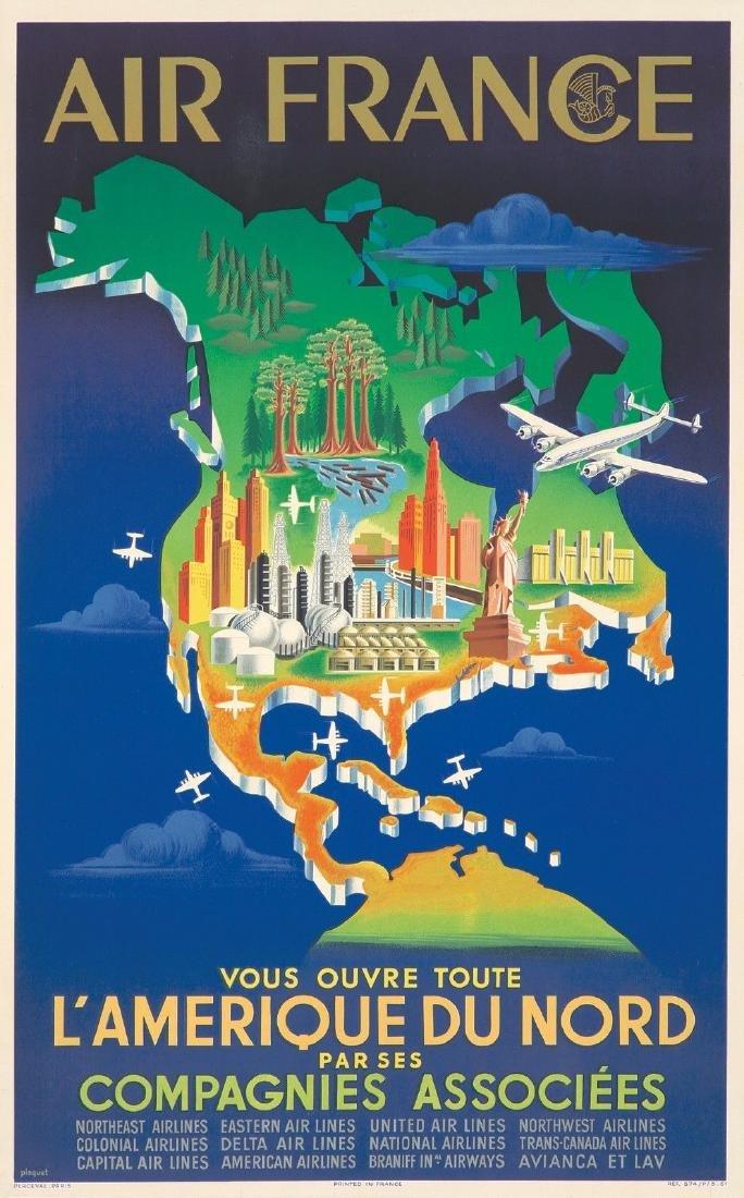 Original Vintage Poster Air France Travel North America
