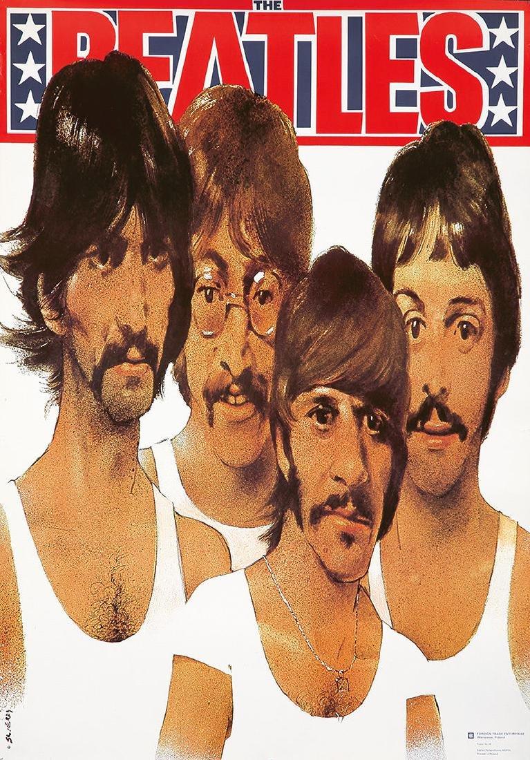 Original Vintage Poster The Beatles Rock Music Polish