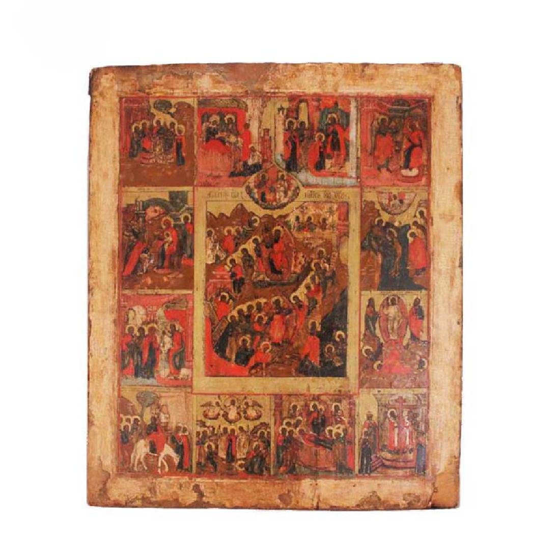 Antique Russian Icon of the Great Feasts