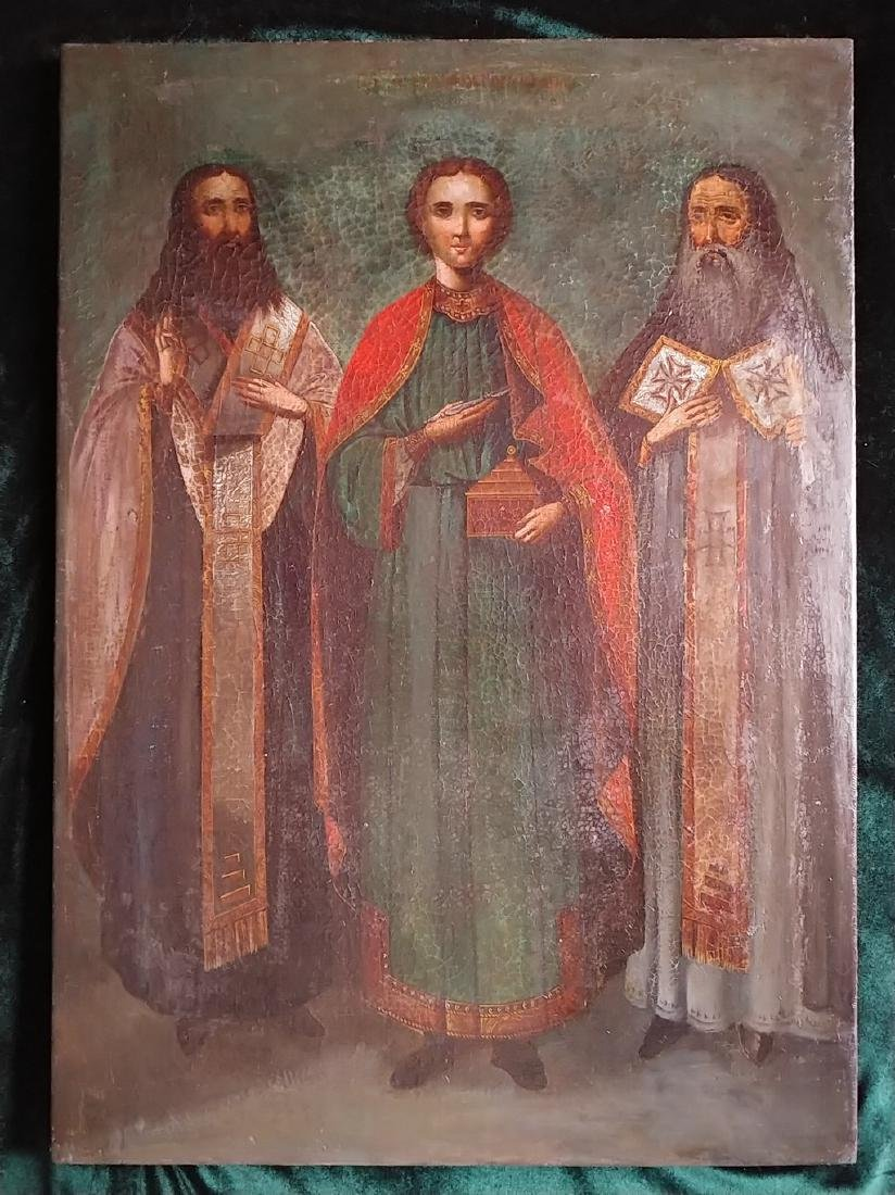 Antique 19c Russian Icon of the Pantaleon with Saints - 2