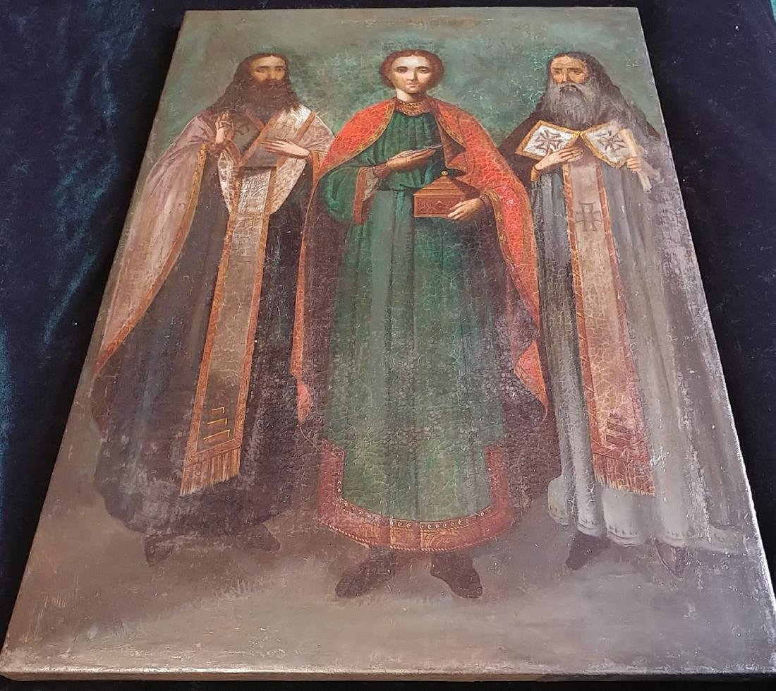 Antique 19c Russian Icon of the Pantaleon with Saints - 3