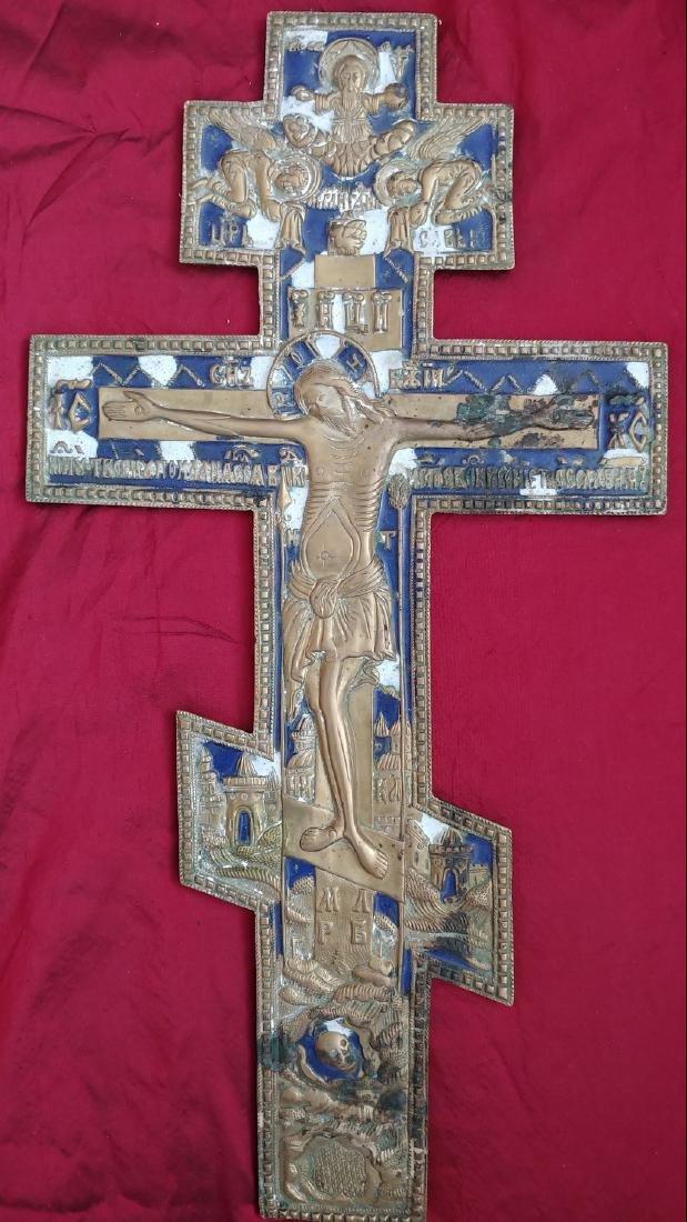 Antique 19c Bronze Enamel Russian Old Believers Cross