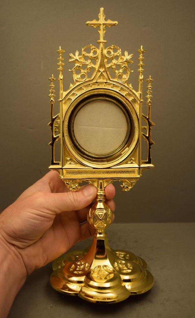 Ornate Chapel Size Monstrance with Luna, All goldplated