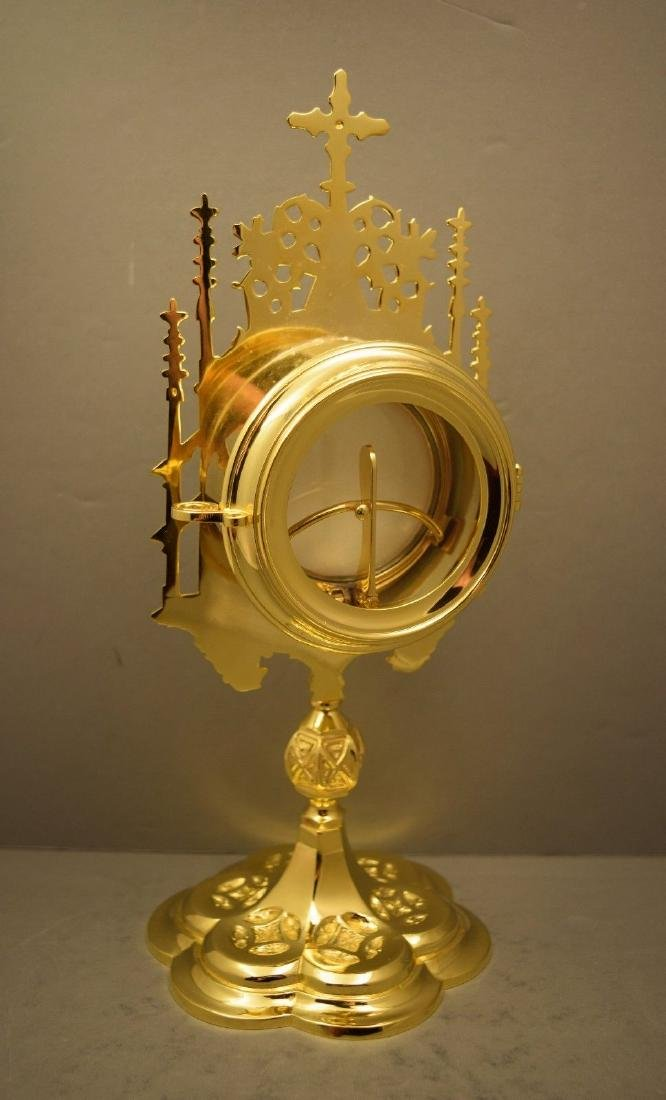 Ornate Chapel Size Monstrance with Luna, All goldplated - 3