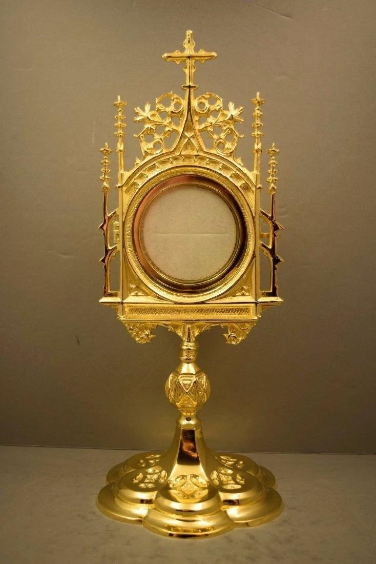 Ornate Chapel Size Monstrance with Luna, All goldplated - 9