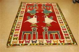 Persian Shiraz Gabbeh Rug 5x7.3 Animal Subjects