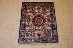 Detailed Kork Wool Persian Bijar Rug 1.11x2.7