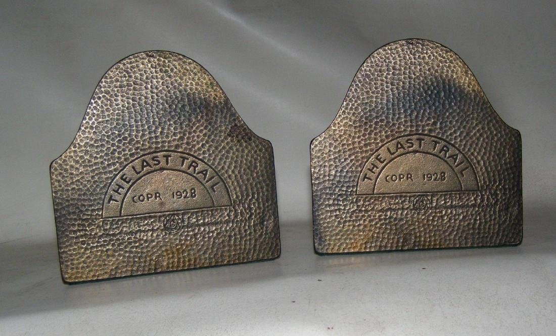 Antique Bronze Bookends, LAST TRAIL 1928 Connecticut - 2