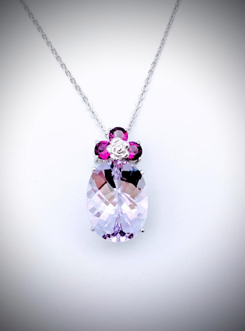 Necklace w Pink & Pale Pink Amethyst Pendant