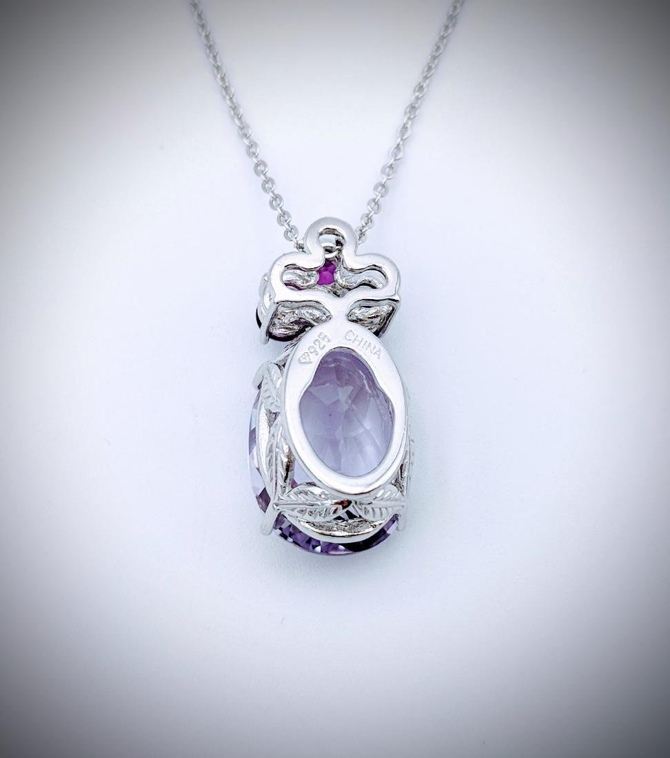 Necklace w Pink & Pale Pink Amethyst Pendant - 2