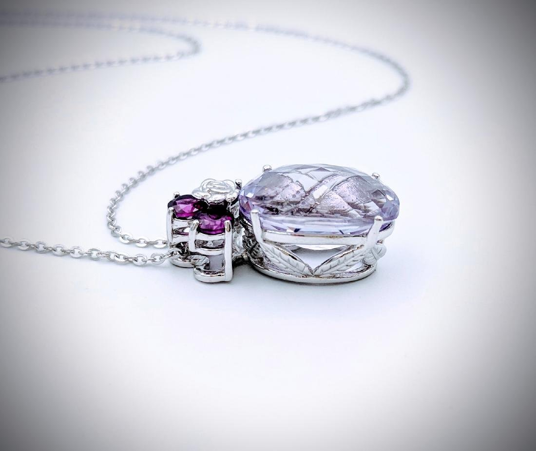 Necklace w Pink & Pale Pink Amethyst Pendant - 3