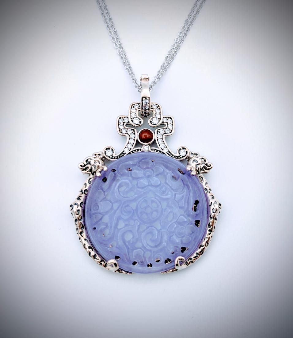 925 SS Dragon Pendant w Violet Jade, Agate & CZ w