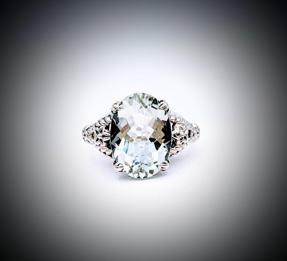 Sterling Silver Sz 7 Hiddenite Ring