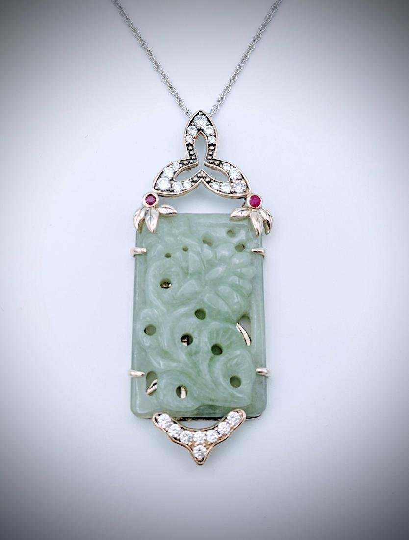 Sterling Silver Necklace w Flower Engraved Jade, Raw