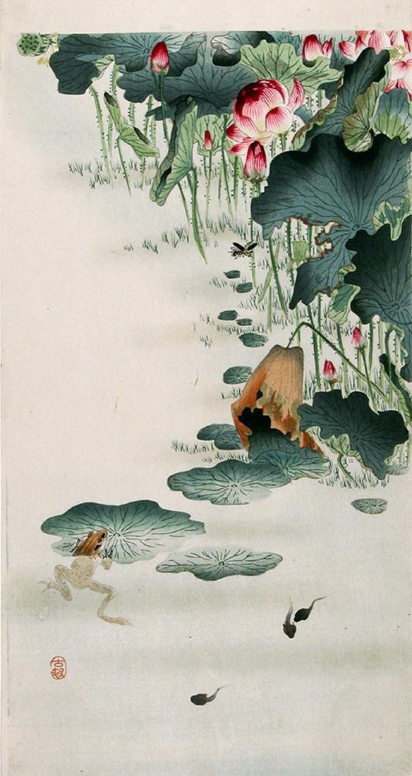 Ohara Koson Woodblock Frog and Tadpoles in a Lotus Pond